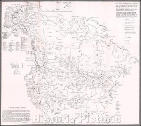 Historic Map - The North American Indians Distribution of Descendants of the Aboriginal Population of Alaska, Canada and the United States, 1956, Sol Tax - Vintage Wall Art