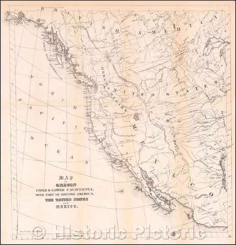 Historic Map - Map of Oregon Upper & Lower California, with part of British-America, The United States and Mexico, 1846, Thomas Sinclair - Vintage Wall Art