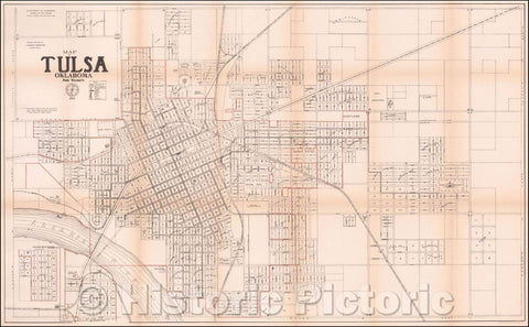 Historic Map - Map of Tulsa Oklahoma and Vicinity, 1915, United States GPO - Vintage Wall Art