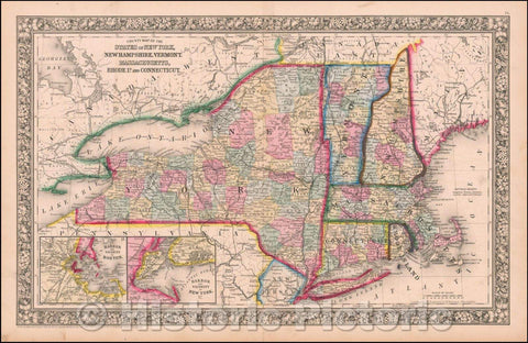 Historic Map - County Map of the States of New York, New Hampshire, Vermont, Massachusetts, Rhode Id. And Connecticutt, 1865, Samuel Augustus Mitchell Jr. v2