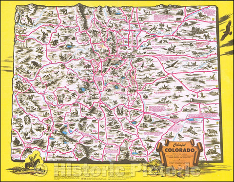 Historic Map - Colorful Colorado, 1947, Colorado State Highway Department - Vintage Wall Art