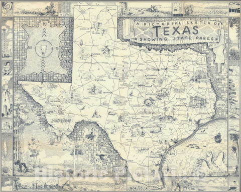 Historic Map : A pictorial sketch of Texas, 1939, Vintage Wall Decor