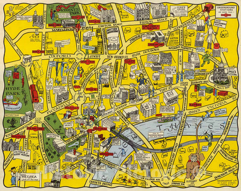 Historic Map : The new Pictorial map of London, 1930, Vintage Wall Decor