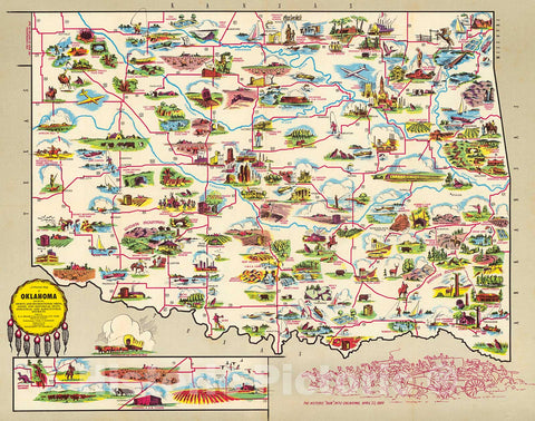 Historic Map : A Pictorial Map of Oklahoma., 1950, Vintage Wall Decor