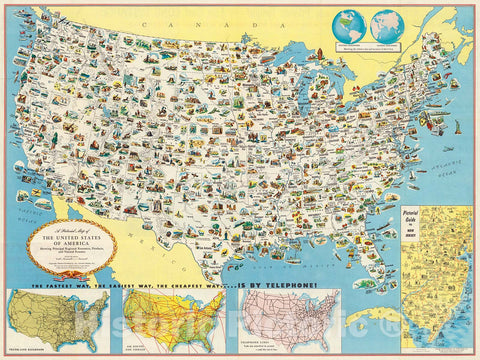 Historic Map : Pictorial Map of the United States of America., 1953, Vintage Wall Decor
