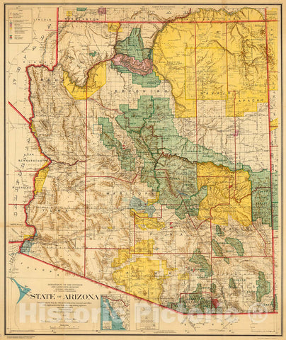 Historic Map : State of Arizona. General Land Office., 1921, Vintage Wall Decor