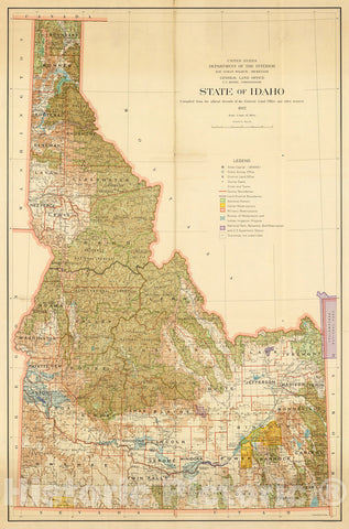Historic Map : State of Idaho. General Land Office., 1932, Vintage Wall Decor