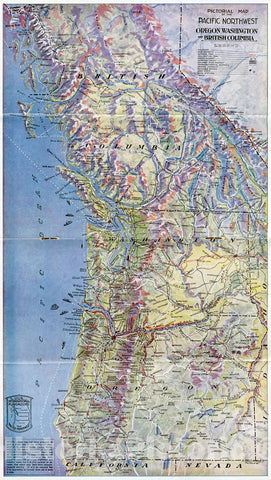 Historic Map : Pictorial Map of The Pacific Northwest, Oregon, Washington, British Columbia., 1917, Vintage Wall Decor
