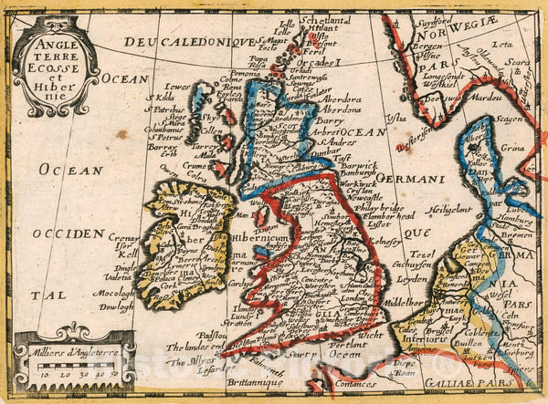 Historic Map : Angleterre, Ecosse et Hibernie., 1659, Vintage Wall Decor