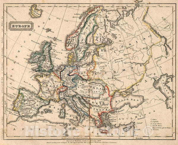 Historic Map : Europe., 1823, Vintage Wall Decor
