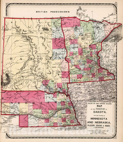 Historic Map : Map of the territory of Dakota and the states of Minnesota and Nebraska, 1871, Vintage Wall Decor