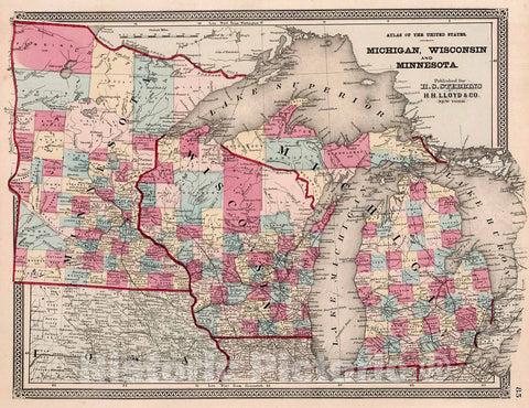 Historic Map : Atlas of the United States. Michigan, Minnesota, and Wisconsin, 1868, Vintage Wall Decor