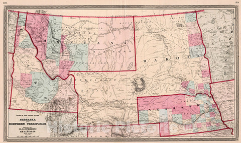 Historic Map : Atlas of the United States. Nebraska and Northern Territories, 1868, Vintage Wall Decor
