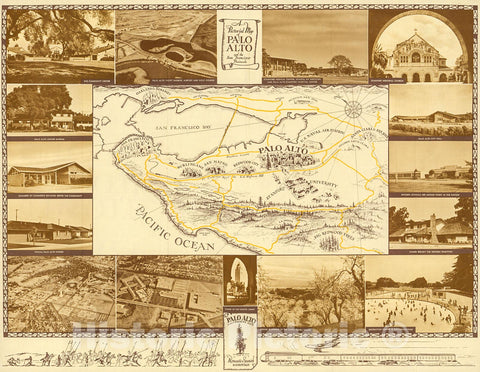Historic Map : A Pictorial Map of Palo Alto and San Francisco Peninsula by Arthur Lites., 1960, Vintage Wall Decor