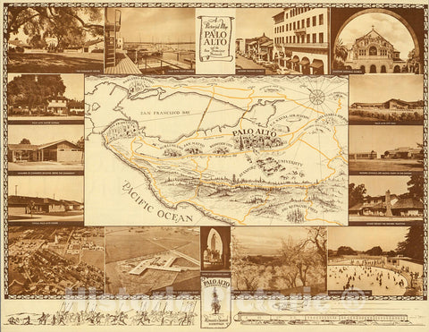 Historic Map : A Pictorial Map of Palo Alto and the San Francisco Peninsula., 1955, Vintage Wall Decor