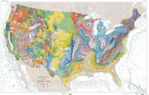 "Map : Geologic map of the United States (exclusive of Alaska and Hawaii) [See <a href=""proddesc_5105.htm"" target=""_blank"">explanatory text</a>], 1974 Cartography Wall Art :"