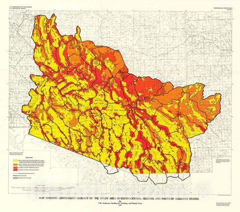 Map : Geohydrology and water resources of alluvial basins in south-central Arizona and parts of adjacent states, 1992 Cartography Wall Art :