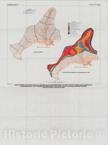 Map : Geohydrologic units of the Mississippi embayment and Texas coastal uplands aquifer systems, south-central United States, 1991 Cartography Wall Art :