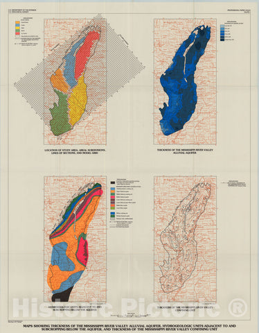 Map : Hydrology of the Mississippi River Valley alluvial aquifer, south-central United States, 1996 Cartography Wall Art :