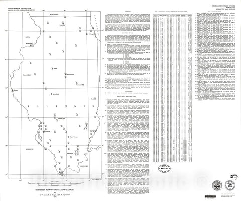 Map : Seismicity map of the state of Illinois, 1979 Cartography Wall Art :