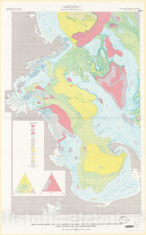 Map : Bottom sediments on the continental shelf off the northeastern United States-Cape Cod to Cape Ann Massachusetts, 1973 Cartography Wall Art :