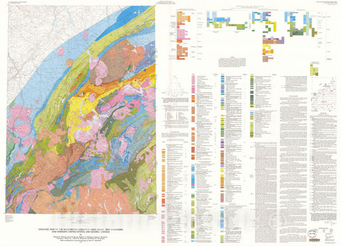 Map : Geologic map of the Sherbrooke-Lewiston area, Maine, New Hampshire, and Vermont, United States, and Quebec, Canada, 1995 Cartography Wall Art :