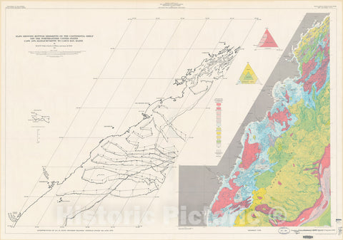 Map : Maps showing bottom sediments on the continental shelf of the northeastern United States - Cape Ann, Massachusetts to Casco Bay, Maine, 1975 Cartography Wall Art :