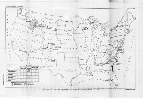 Map : Selected annotated bibliography of thorium and rare-earth deposits in the United States including Alaska, 1957 Cartography Wall Art :