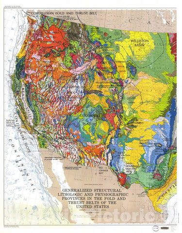 Map : Generalized structural, lithologic, and physiographic provinces in the fold and thrust belts of the United States: exclusive of Alaska and Hawaii, 1983 Cartography Wall Art :