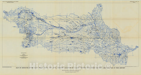 Map : Compilation of records of surface waters of the United States, October 1950 to September 1960, part 6-B. Missouri River basin below Sioux City, Iowa, 1964 Cartography Wall Art :