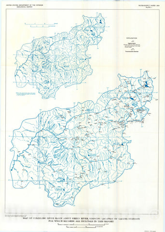 Map : Surface water supply of the United States, 1961-65, Part 9. Colorado River basin, Volume 1. Colorado River basin above Green River, 1970 Cartography Wall Art :