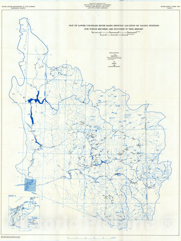 Map : Surface water supply of the United States, 1961-65, Part 9. Colorado River basin, Volume 3. lower Colorado River basin, 1970 Cartography Wall Art :