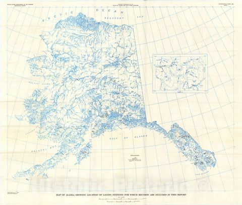 Map : Surface water supply of the United States, 1961-65, Part 15. Alaska, 1971 Cartography Wall Art :