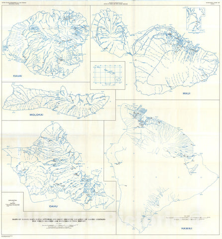 Map : Surface water supply of the United States, 1961-65, Part 16. Hawaii and other Pacific areas, 1971 Cartography Wall Art :
