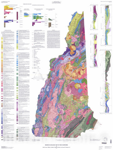 Map : Bedrock geologic map of New Hampshire, 1997 Cartography Wall Art :