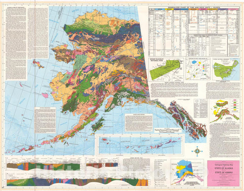 Map : Geological highway map of the state of Hawaii and the state of Alaska [Alaska], 1974 Cartography Wall Art :