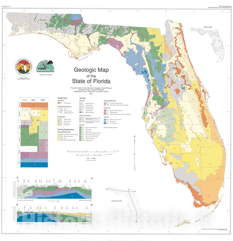Map : Geologic map of the State of Florida (revised 2006), 2001 Cartography Wall Art :