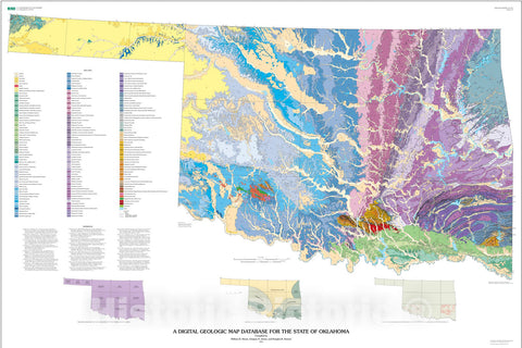 Map : A digital geologic map database for the State of Oklahoma, 2003 Cartography Wall Art :