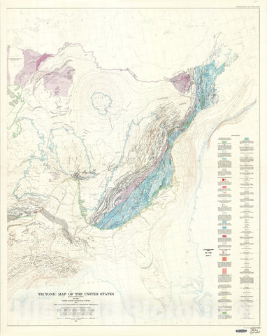 Map : Tectonic map of the United States, exclusive of Alaska and Hawaii, 1962 Cartography Wall Art :