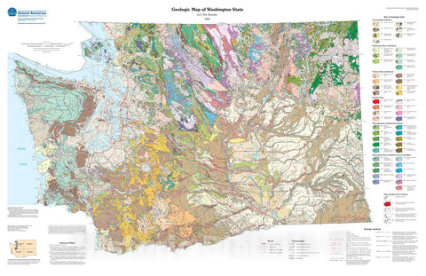 Map : Geologic map of Washington State, 2005 Cartography Wall Art :