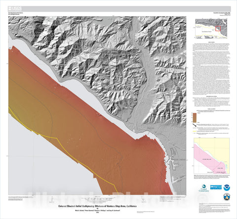 Map : California State Waters Map Series—offshore of Ventura, California, 2013 Cartography Wall Art :