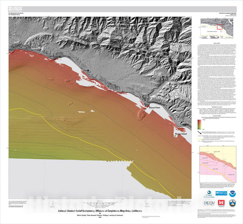 Map : California State Waters Map Series—offshore of Carpinteria, California, 2013 Cartography Wall Art :