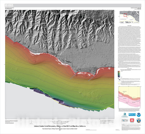 Map : California State Waters Map Series—offshore of Coal Oil Point, California, 2014 Cartography Wall Art :