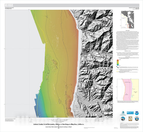 Map : California State Waters Map Series—offshore of San Gregorio, California, 2014 Cartography Wall Art :