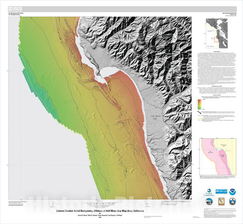 Map : California State Waters Map Series—offshore of Half Moon Bay, California, 2014 Cartography Wall Art :