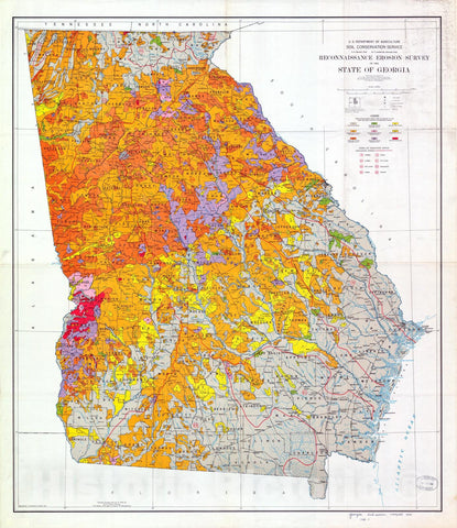 Map : Reconnaissance erosion survey of the State of Georgia, 1934 Cartography Wall Art :