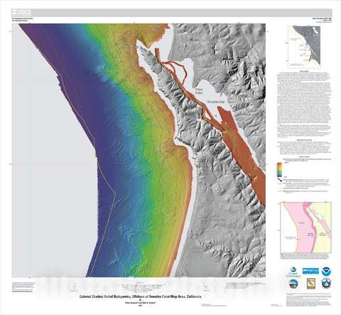Map : California State Waters Map Series—offshore of Tomales Point, California, 2015 Cartography Wall Art :