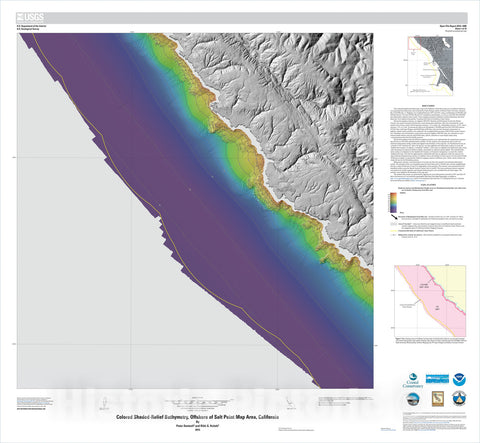 Map : California State Waters Map Series—offshore of Salt Point, California, 2015 Cartography Wall Art :