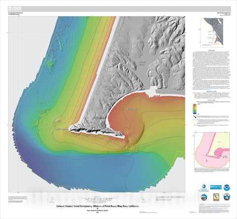 Map : California State Waters Map Series—offshore of Point Reyes, California, 2015 Cartography Wall Art :