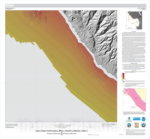 Map : California State Waters Map Series—offshore of Scott Creek, California, 2015 Cartography Wall Art :